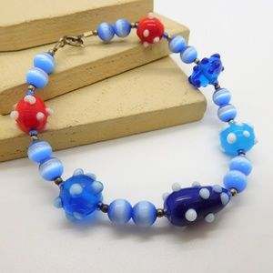 Retro Blue White Red Art Glass Bead Bracelet